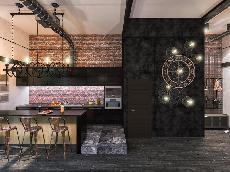 Cuisine style industriel loft cuisine moderne verriere for Cuisine loft industriel