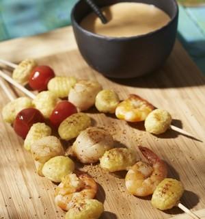 Brochettes noix de Saint Jacques et gnocchi