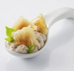 Cuillère apéritive crème de thon et ravioles à poêler