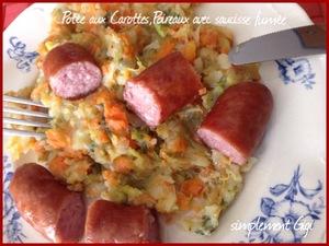 Pot e aux carottes poireaux avec saucisse fum e recette - Cuisiner des saucisses fumees ...