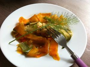 Pavé de saumon et tagliatelles de légumes bio