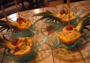 Entrée au crabe et aux fruits