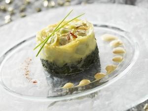 Flan de ravioles à la crème de safran