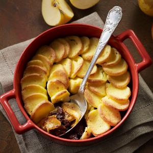 Gratin de quenelles au boudin et pommes