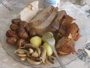 Rouelle de porc au miel et aux châtaignes