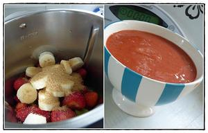 recette - Compote rhubarbe, fraises, banane version avec Thermomix